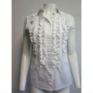 DOLCE & GABBANA white ruffled bib blouse sz S